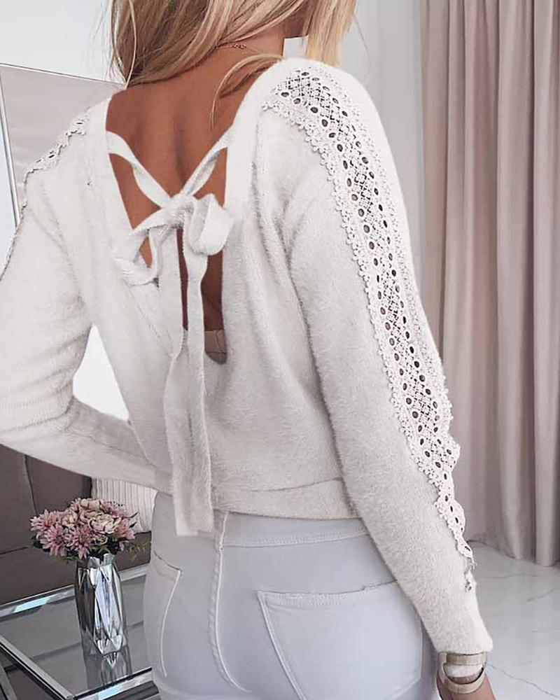 Eyelet Embroidery Tie Detail Backless Top фото