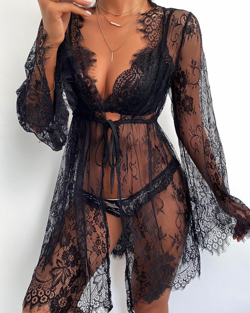 Eyelash Crochet Lace Sheer Mesh Lingerie & Robe Set