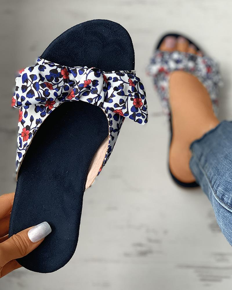 Ditsy Floral Print Striped Colorblock Bowknot Sliders фото