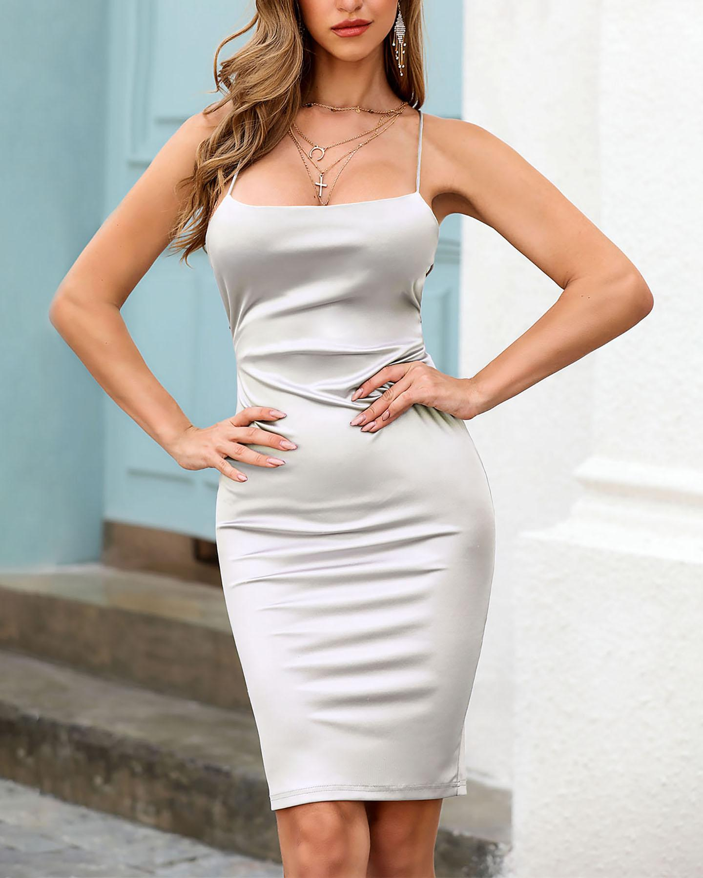 Spaghetti Strap Crisscross Backless Dress, Silver