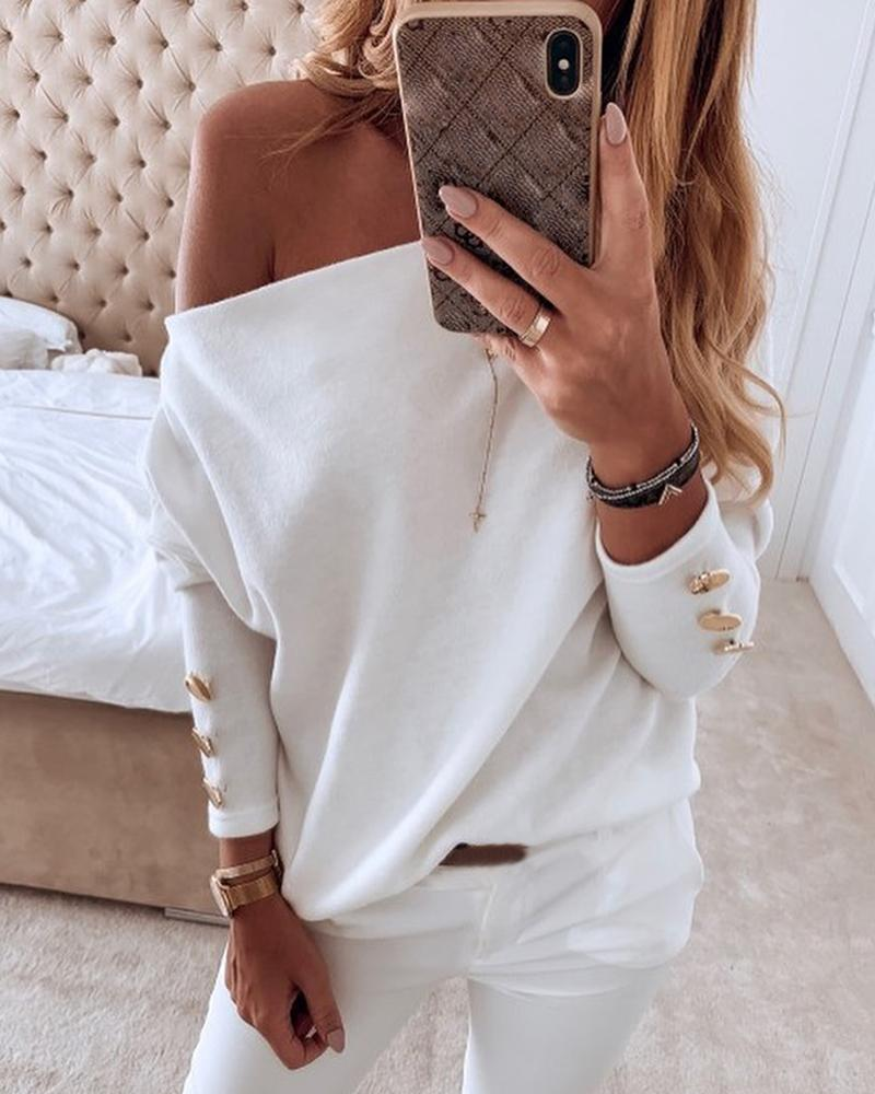 Solid Off Shoulder Buttoned Blouse фото