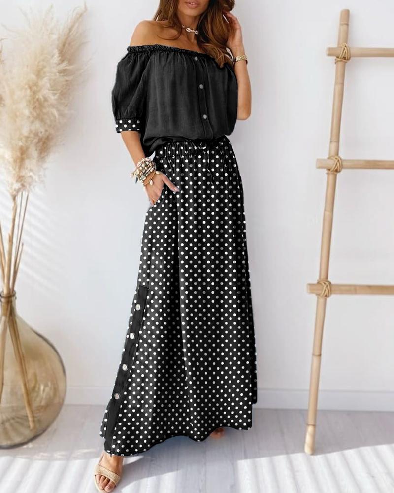 chicme / Conjunto de top y falda con diseño de botones de lunares fuera del hombro