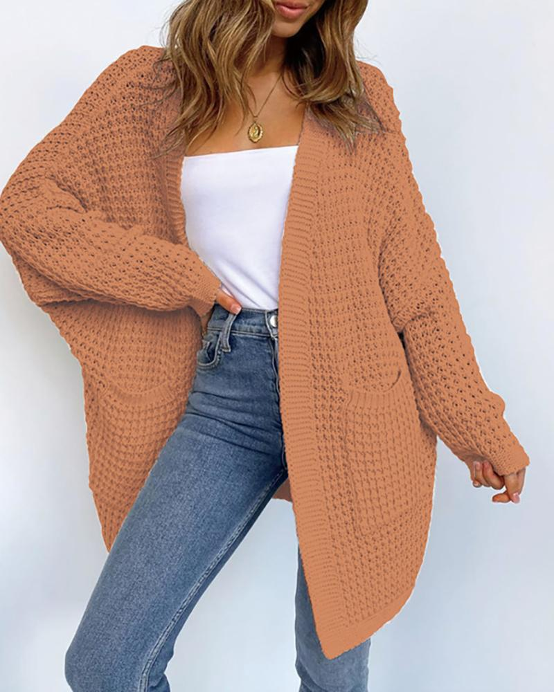Open Front Long Sleeve Knitting Cardigan фото