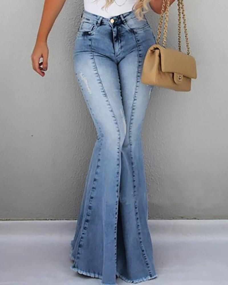 High Waist Pocket Bell-Bottom Jeans фото