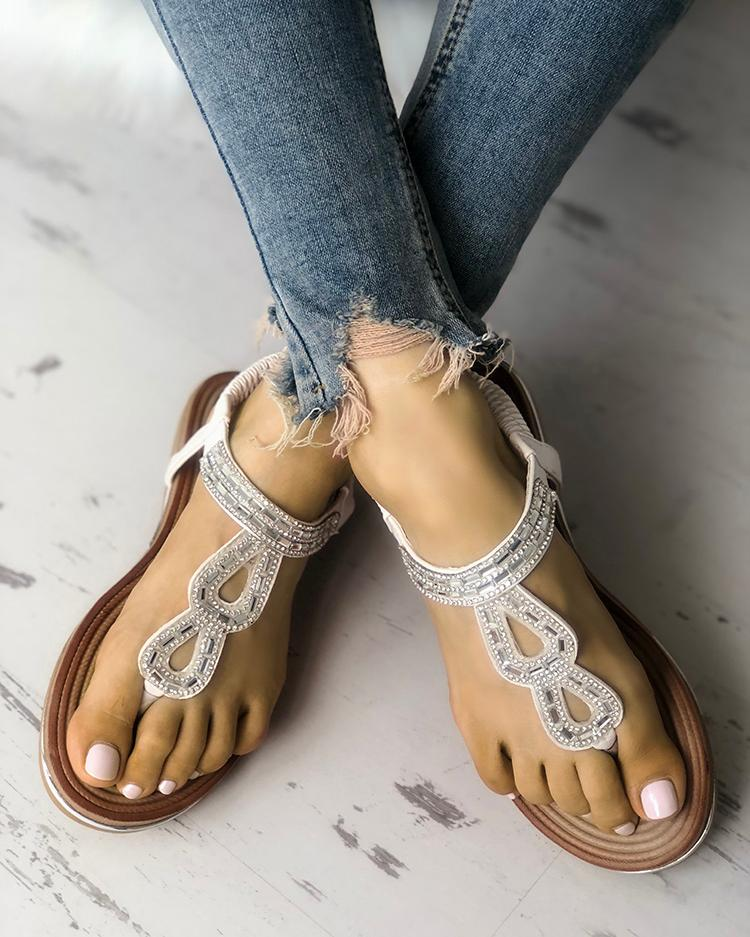joyshoetique / Sequins Embellished Hollow Out Toe Post Sandals