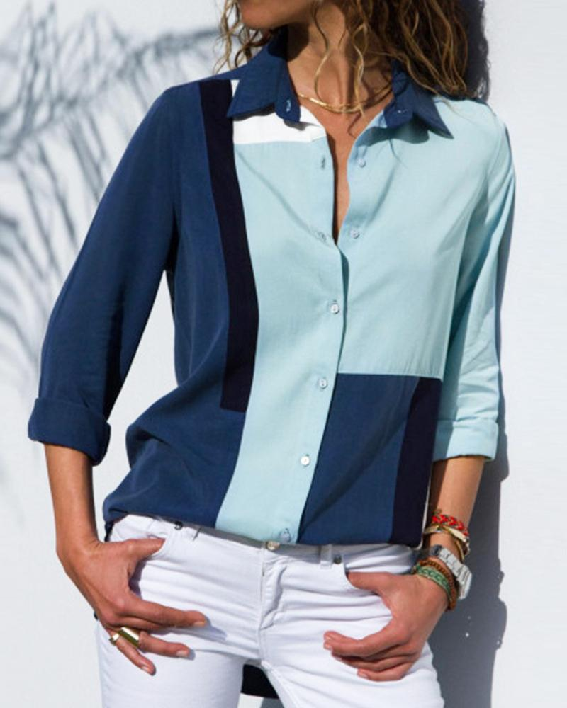 Color Blocking Button Design Casual Blouse фото