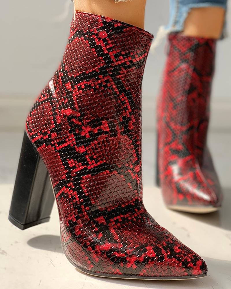 ivrose / Leather Snakeskin Chunky Heeled Ankle-Boots