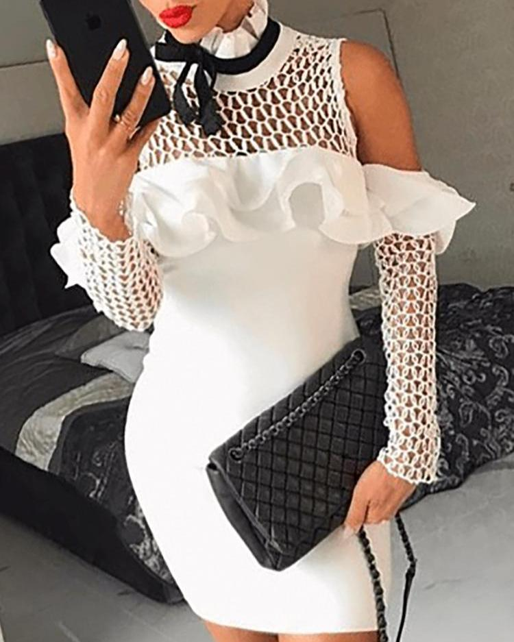 Cold Shoulder Hollow Out Ruffles Bodycon Dress фото