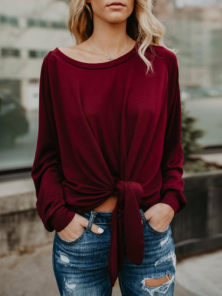 Fashion Knotted Casual Blouse фото