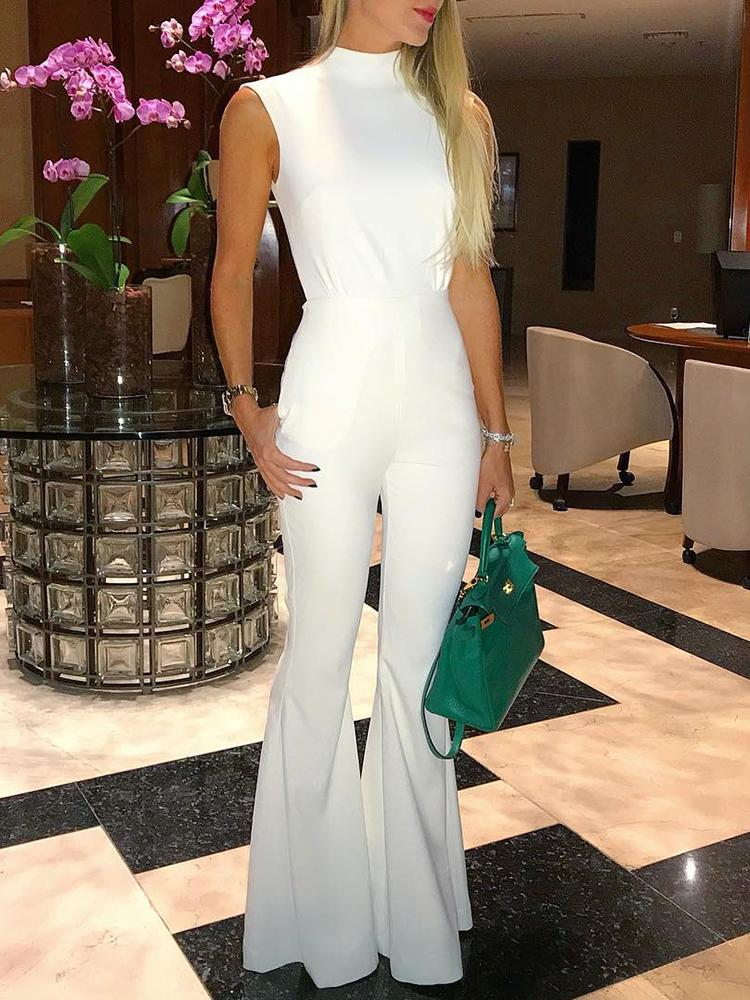 White Tie Open Back Petite Flared Jumpsuit фото