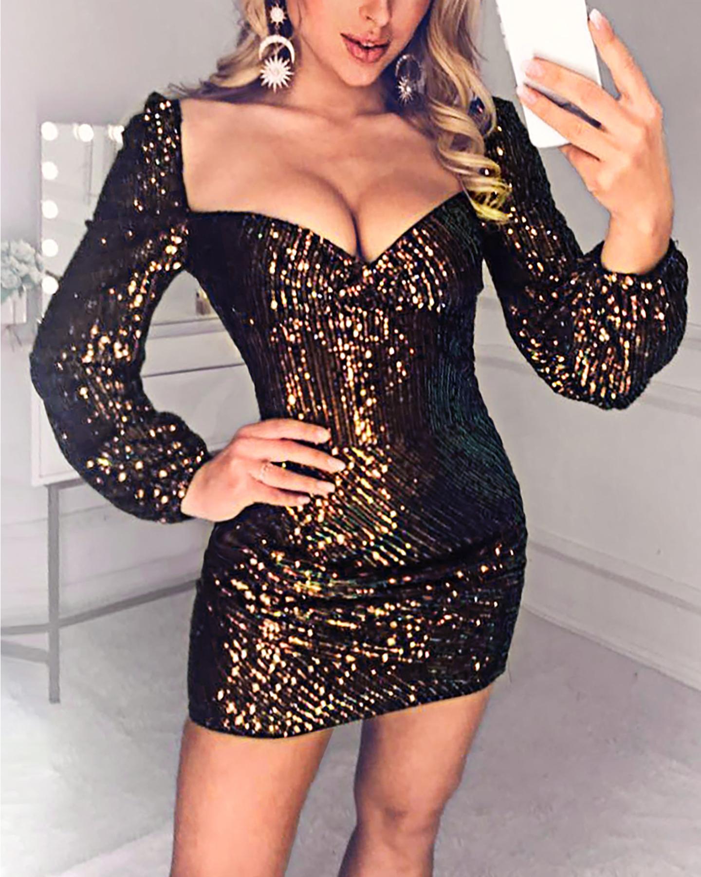 Glitter Puffed Sleeve Sequins Dress фото