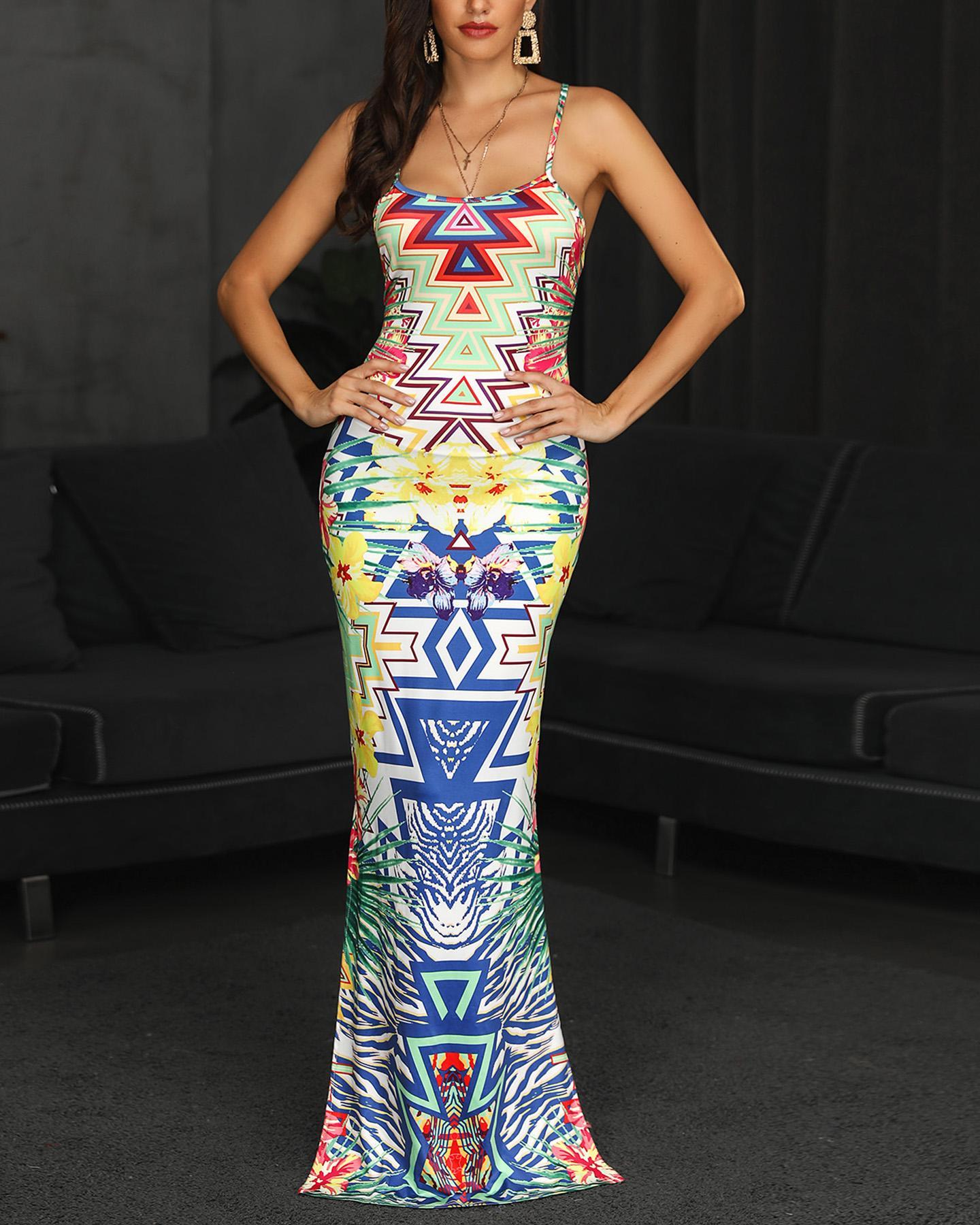 Exotic Print Halter Backless Maxi Dress