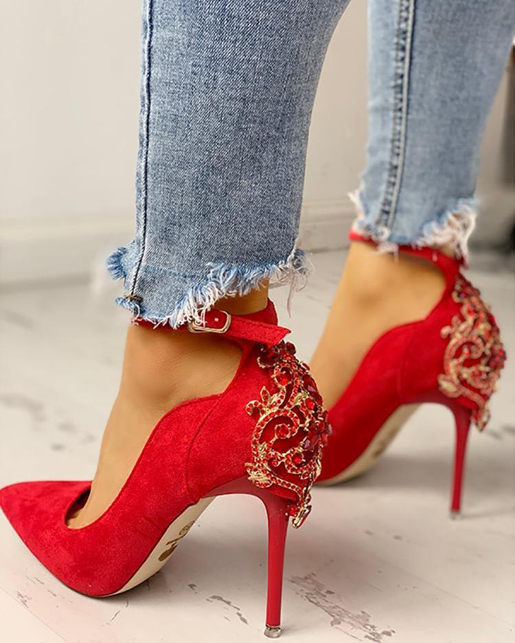joyshoetique / Gem-Studded Pointed Toe Ankle Strap Heels