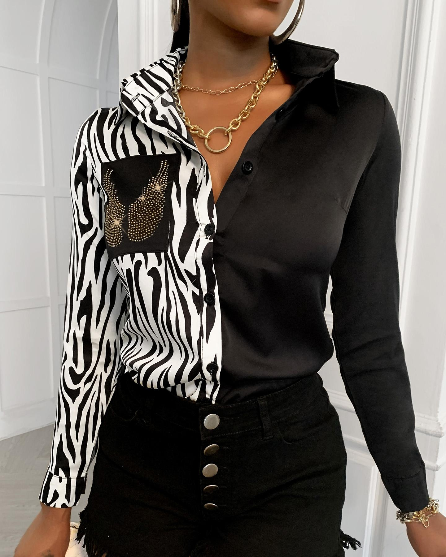 Sequins Wing Pattern Zebra Print Colorblock Shirt фото