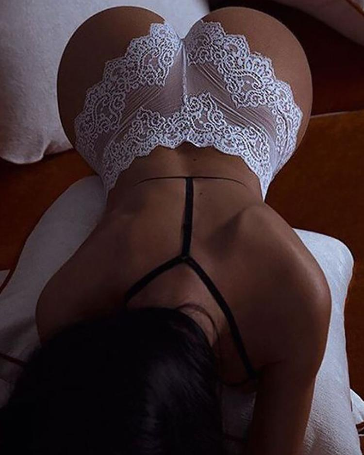 Sheer Lace Splicing Lingerie Bottoms фото