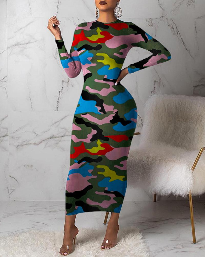 Camouflage Round Neck Long Sleeve Dress фото