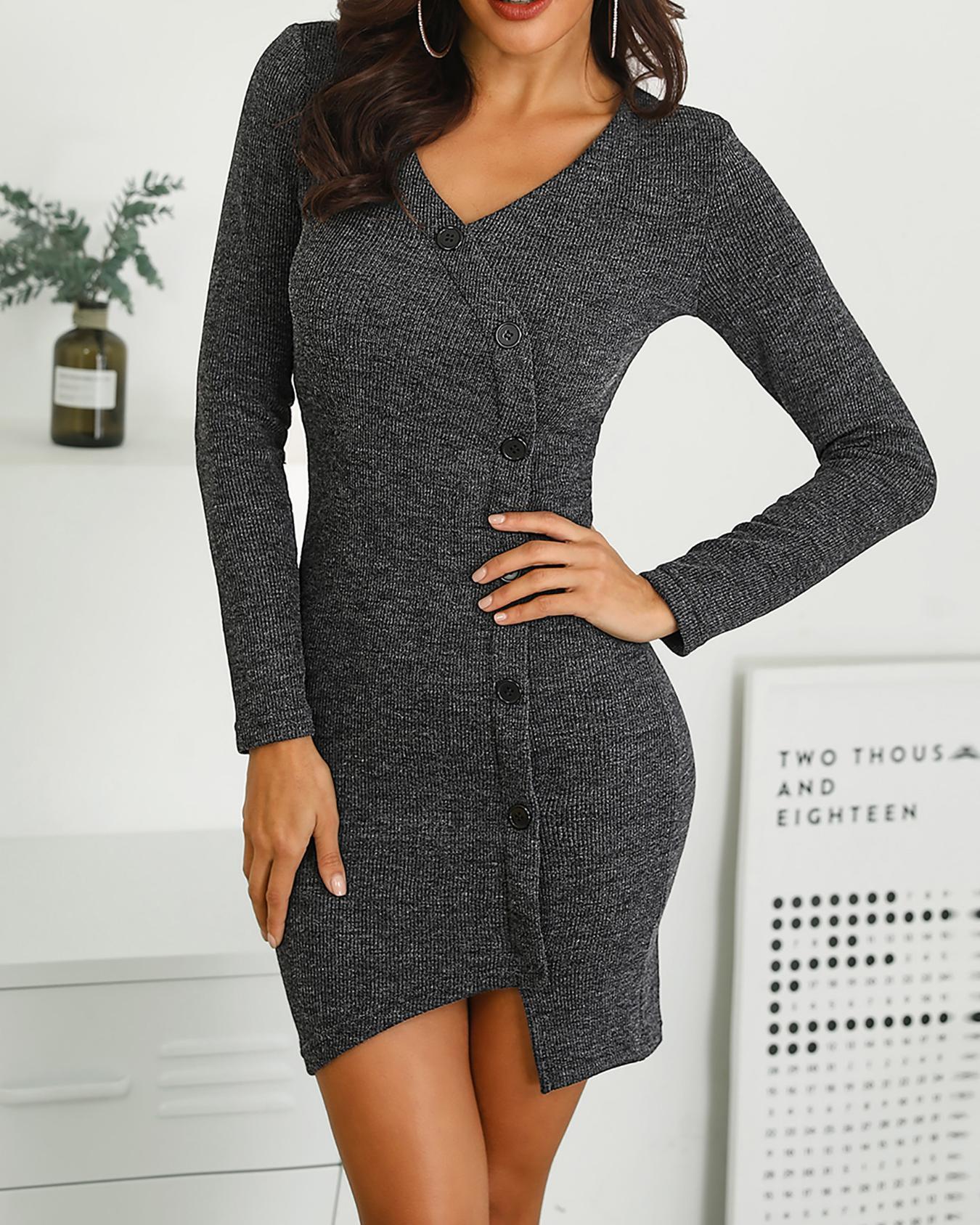 Single Breasted Irregular Long Sleeve Dress