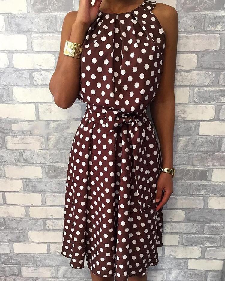 boutiquefeel / Vestido ocasional con cinturón sin mangas de lunares