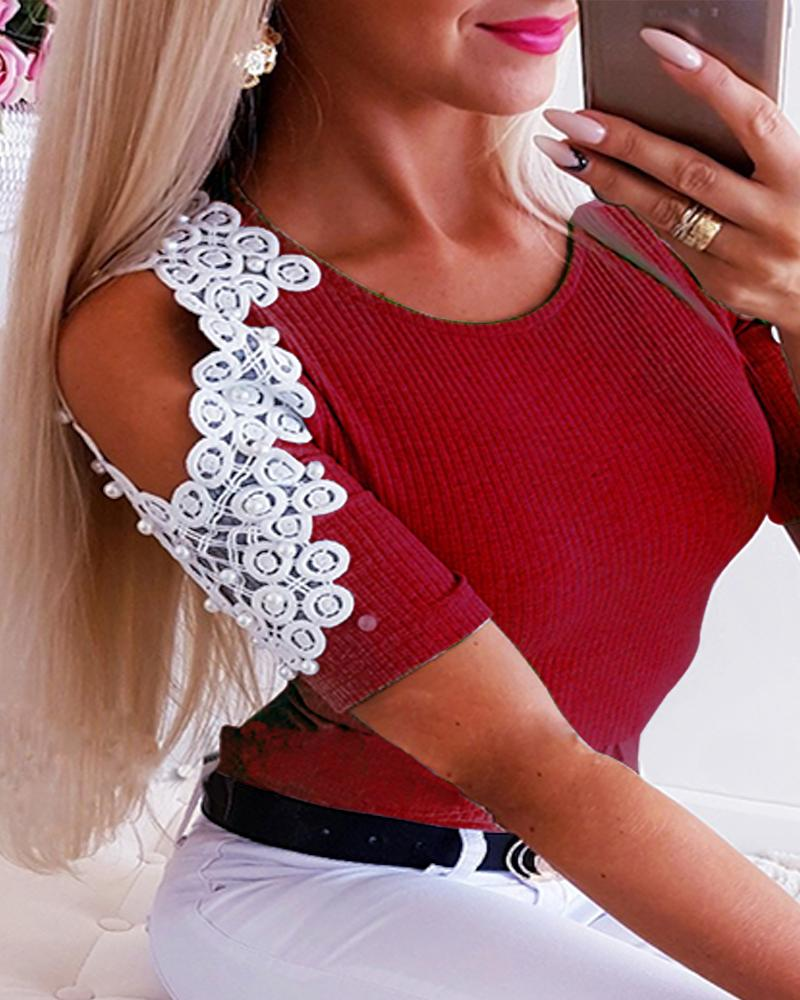 Cold Shoulder Beaded & Lace Embellished Top фото