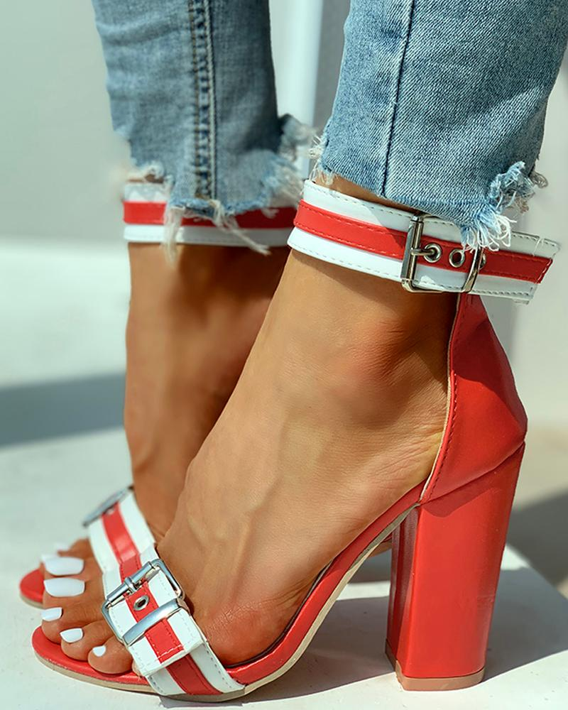 Ankle Buckled Colorblock Chunky Heels фото