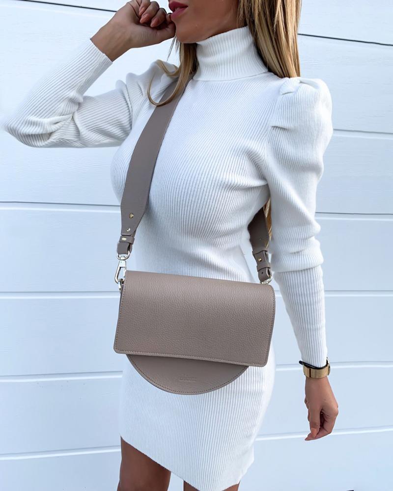 chicme / Vestido ajustado con manga de soplo acanalado liso