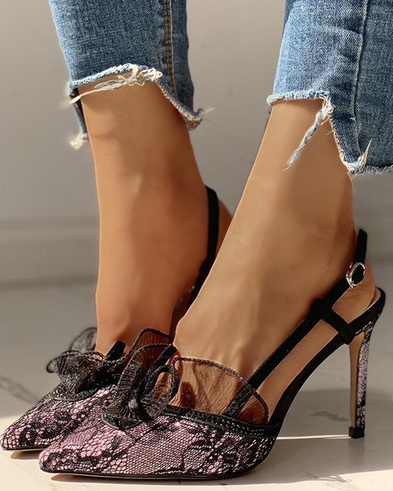 Pointed Toe Lace Insert Ankle Buckled Thin Heeled Sandals, Purple