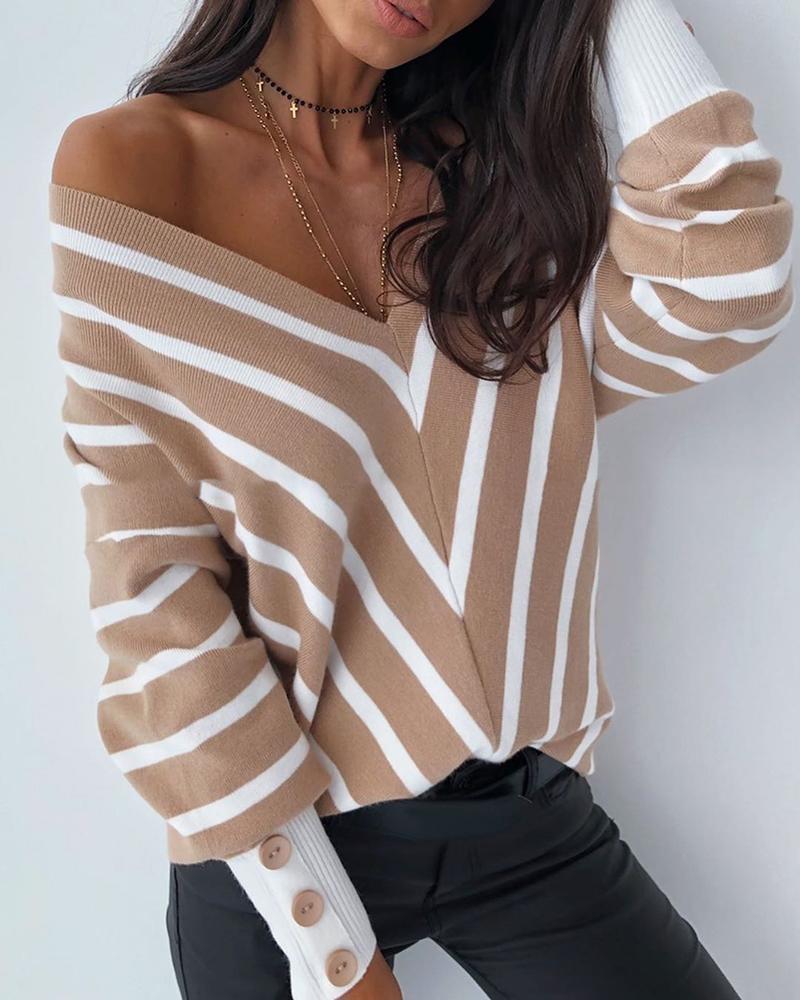 chicme / V Neck Popper Cuff Striped Casual Sweater