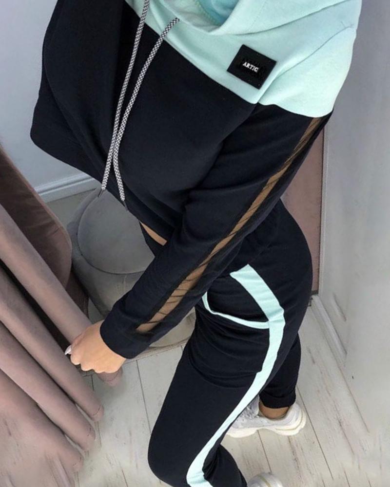 chicme / Conjuntos de sudadera y pantalones con cordón con inserción de colorblock con capucha