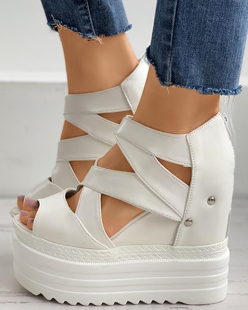 boutiquefeel / Peep Toe Recorte Plataforma Sandálias de cunha