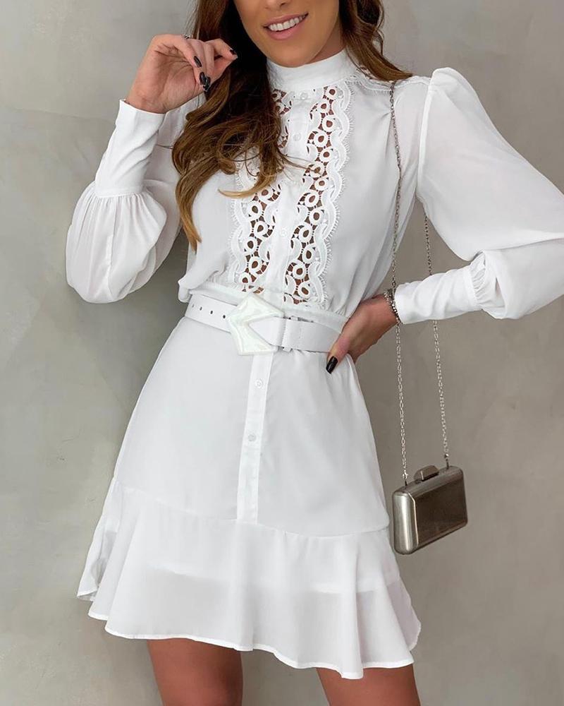 chicme / Solid Puff Sleeve Oco Out Lace Mini Vestido