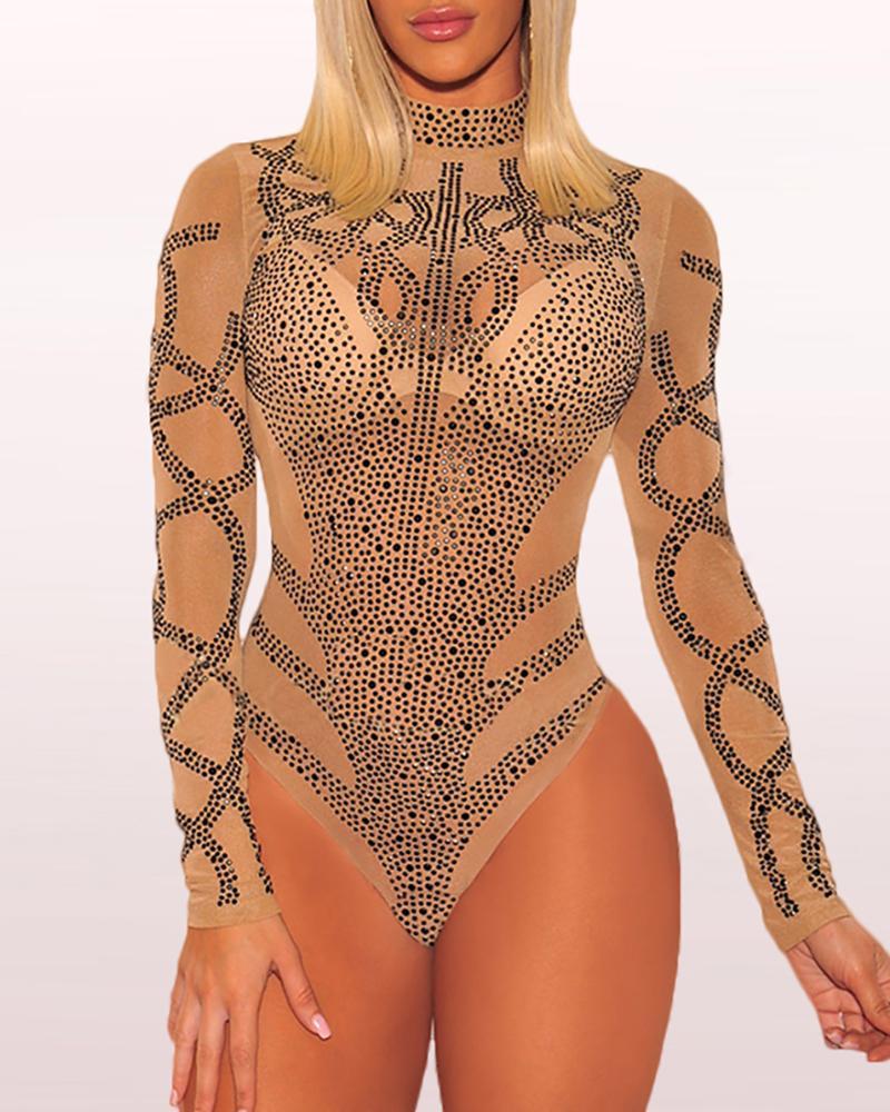 Sheer Mesh High Neck Sequins Bodysuit фото