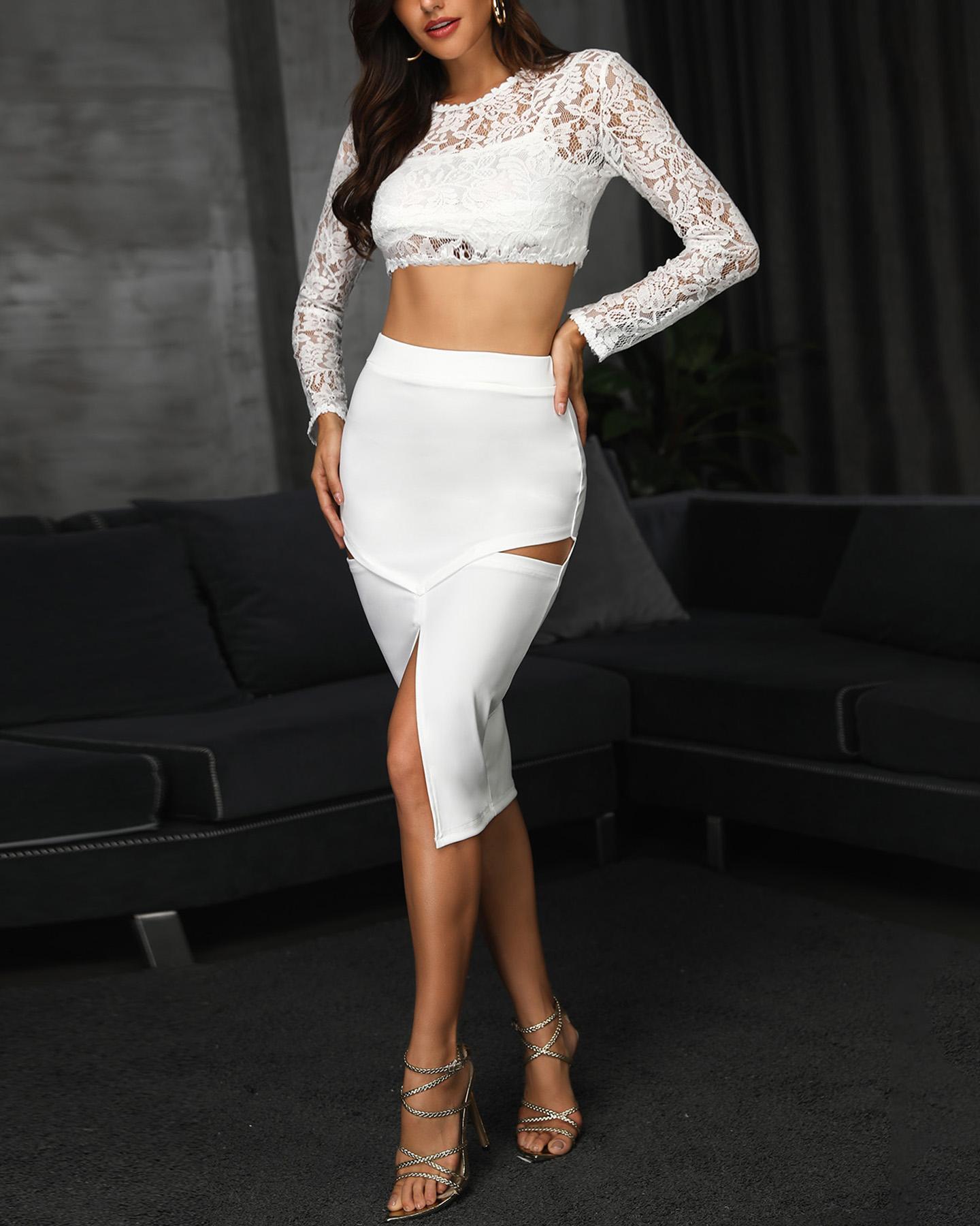 Sheer Lace Top & Cutout Slit Skirt Set, White