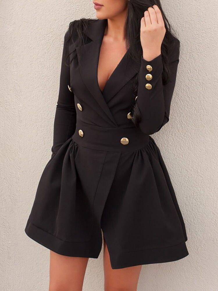 Double-Breasted Long Sleeve Mini Dress фото