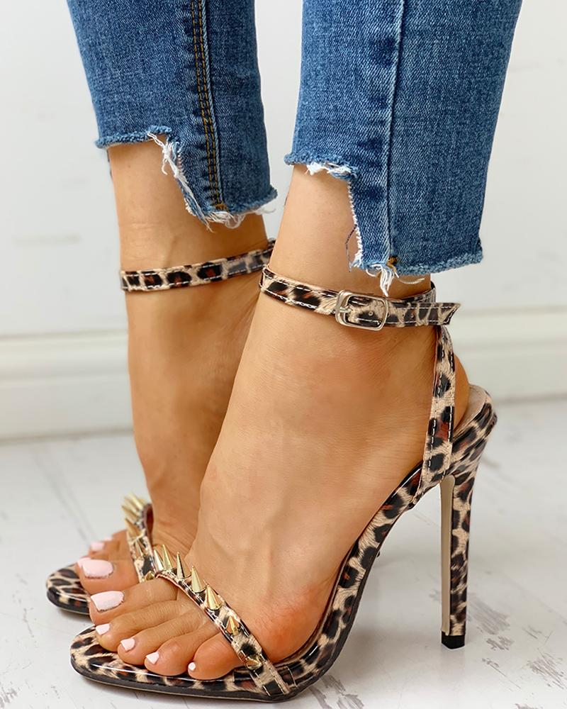 Rivet Leopard Thin Heeled Sandals