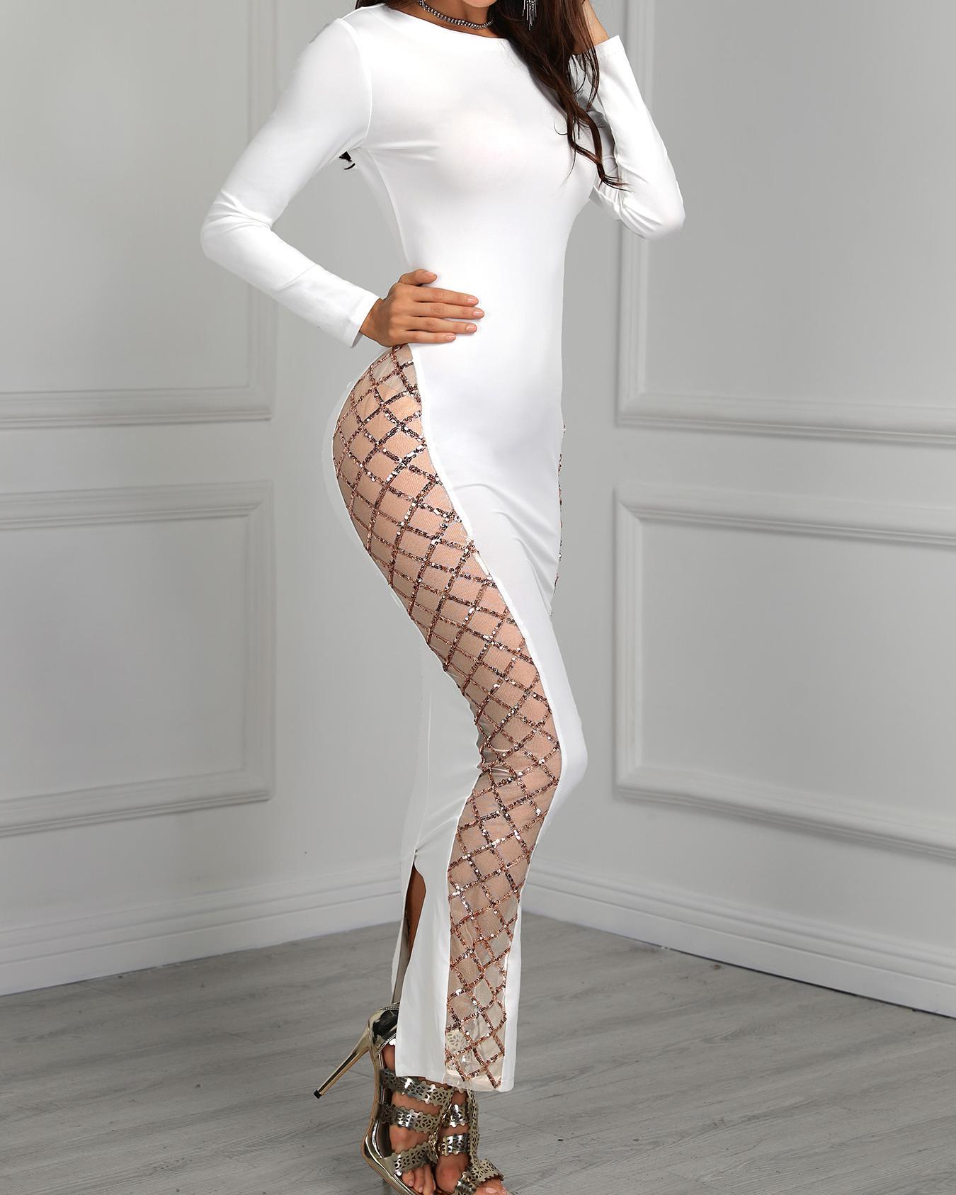Long Sleeve Glitter Splicing Slit Dress фото