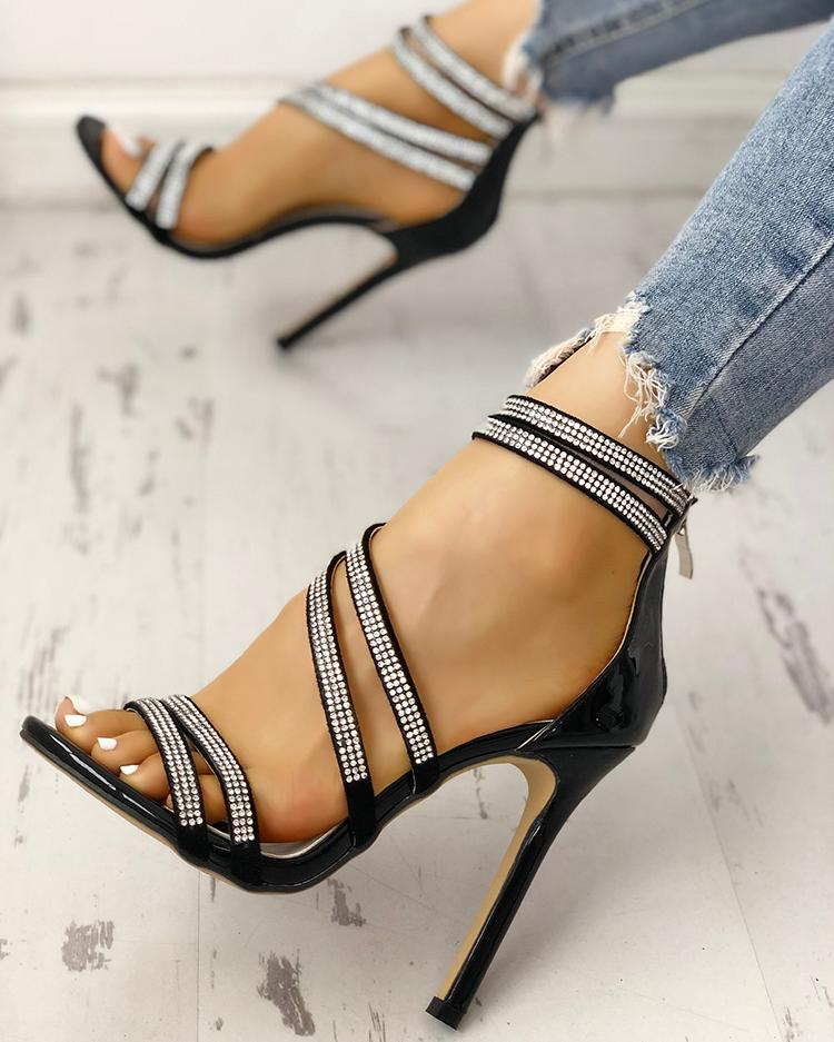 Hot Drilling Bandage Thin Heeled Sandals фото