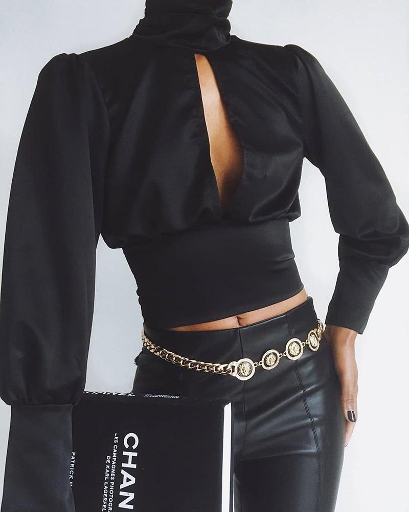 chicme / Sólido cortado no peito apertado cintura blusa