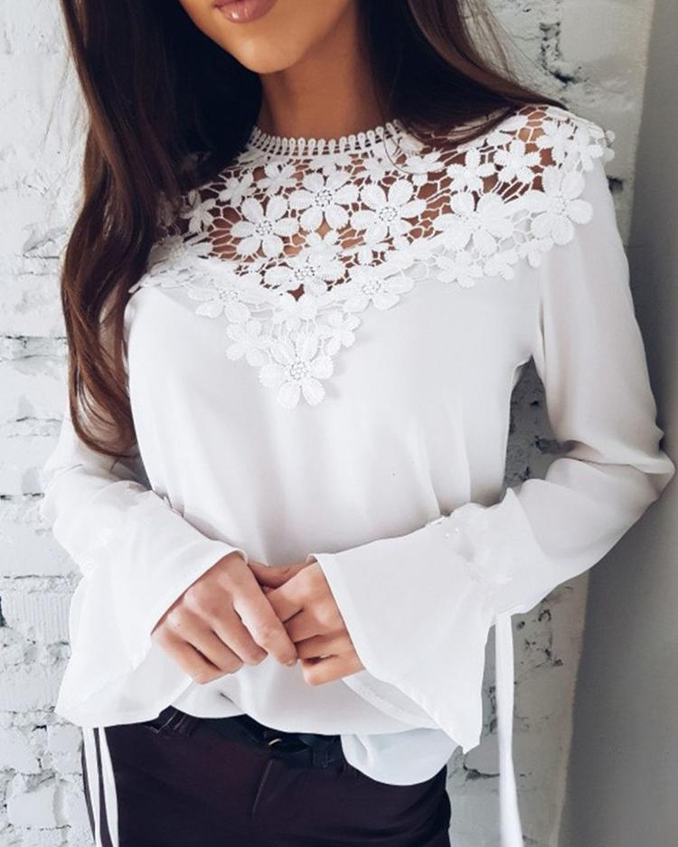 Sexy Flare Sleeve Lace Patchwork Blouse фото