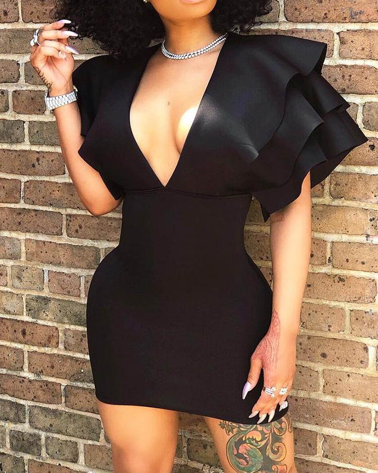 chicme / Plunge capas de capas de diseño Bodycon Mini vestido