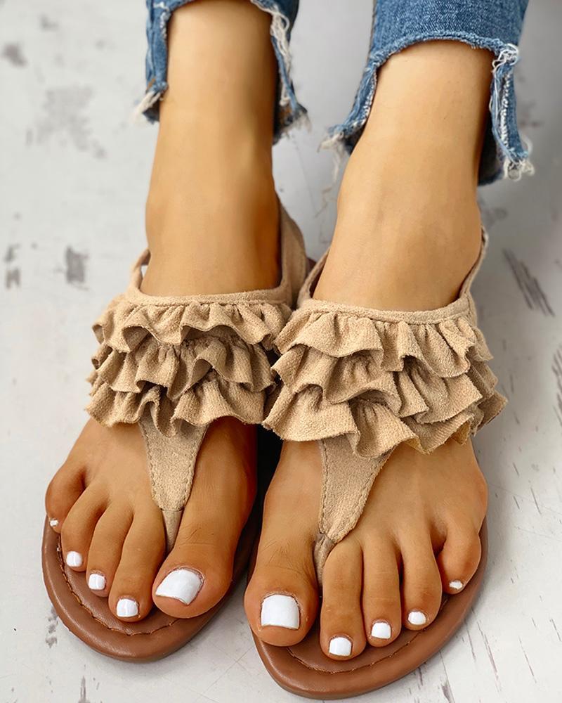 boutiquefeel / Toe Post Ruched Frill Hem sandálias casuais