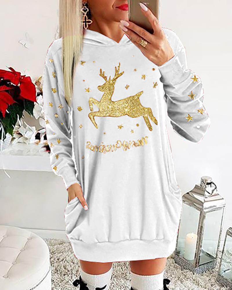 ivrose / Christmas Moose Letter Print Dress