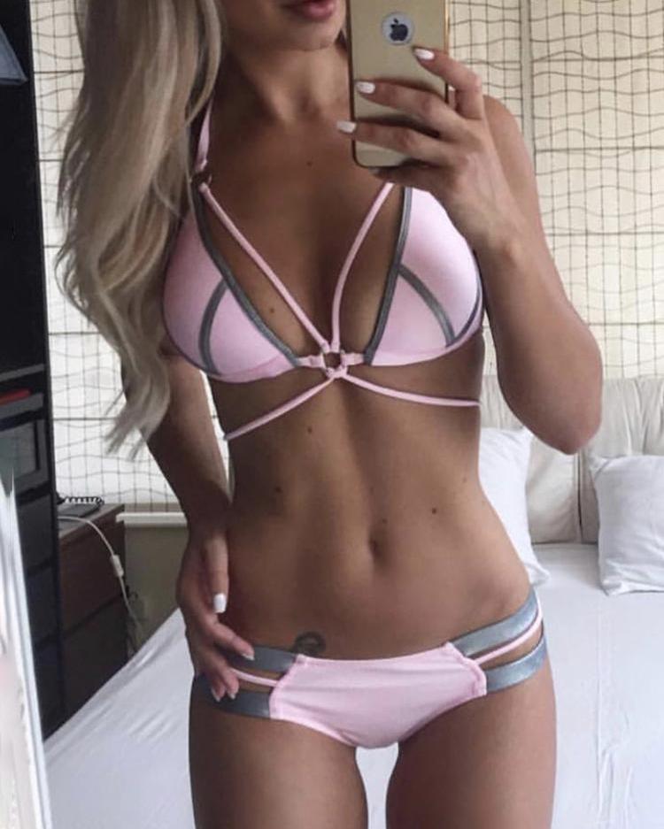 Halter Contrast Binding Bikini Sets фото