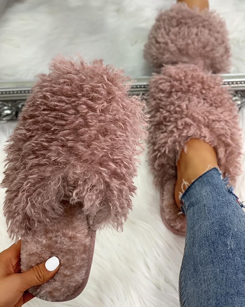 Fluffy Design Print Flat Slippers фото
