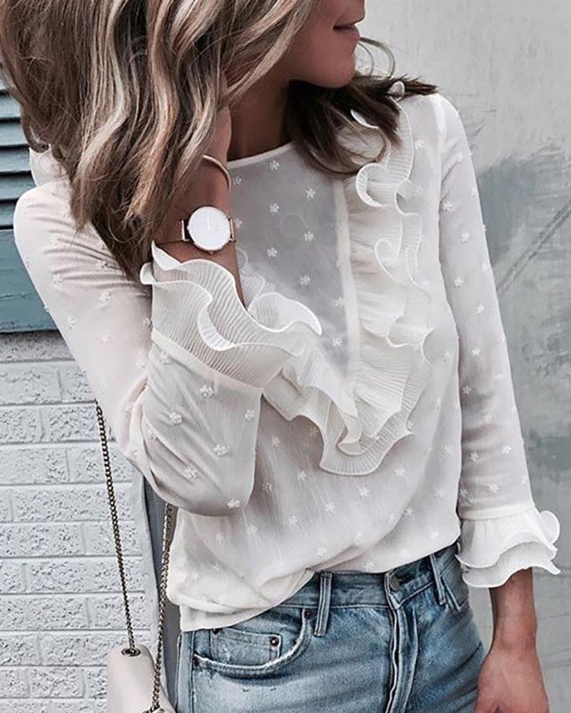 Swiss Dot Ruffles Long Sleeve Blouse фото