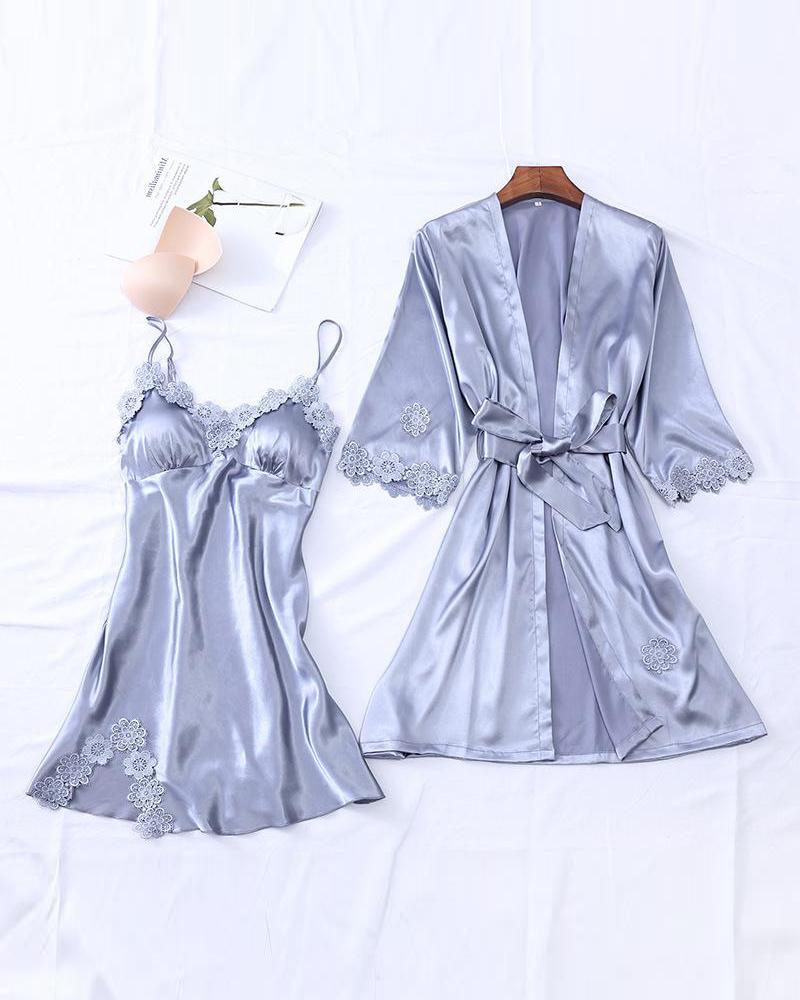 Lace Trim Robe & Camisole Set фото