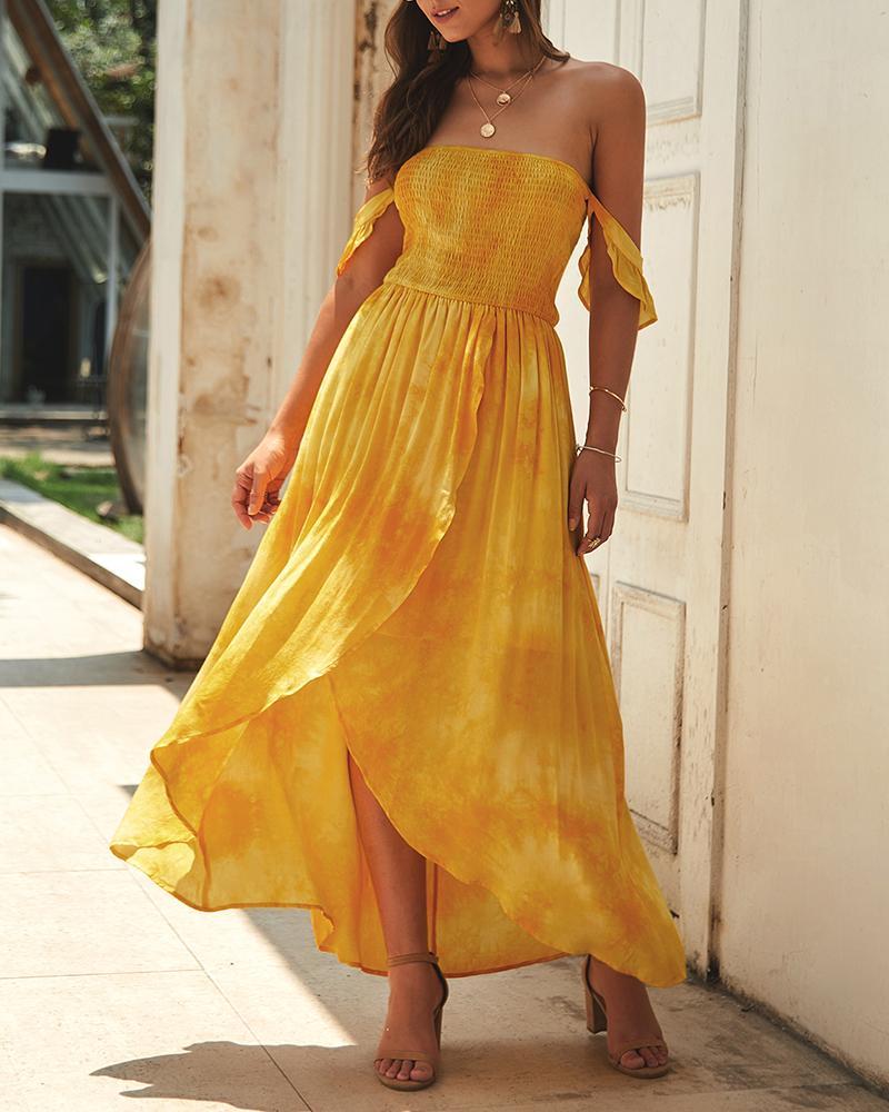 ivrose / Vestido largo con hombros descubiertos con abertura y efecto teñido anudado