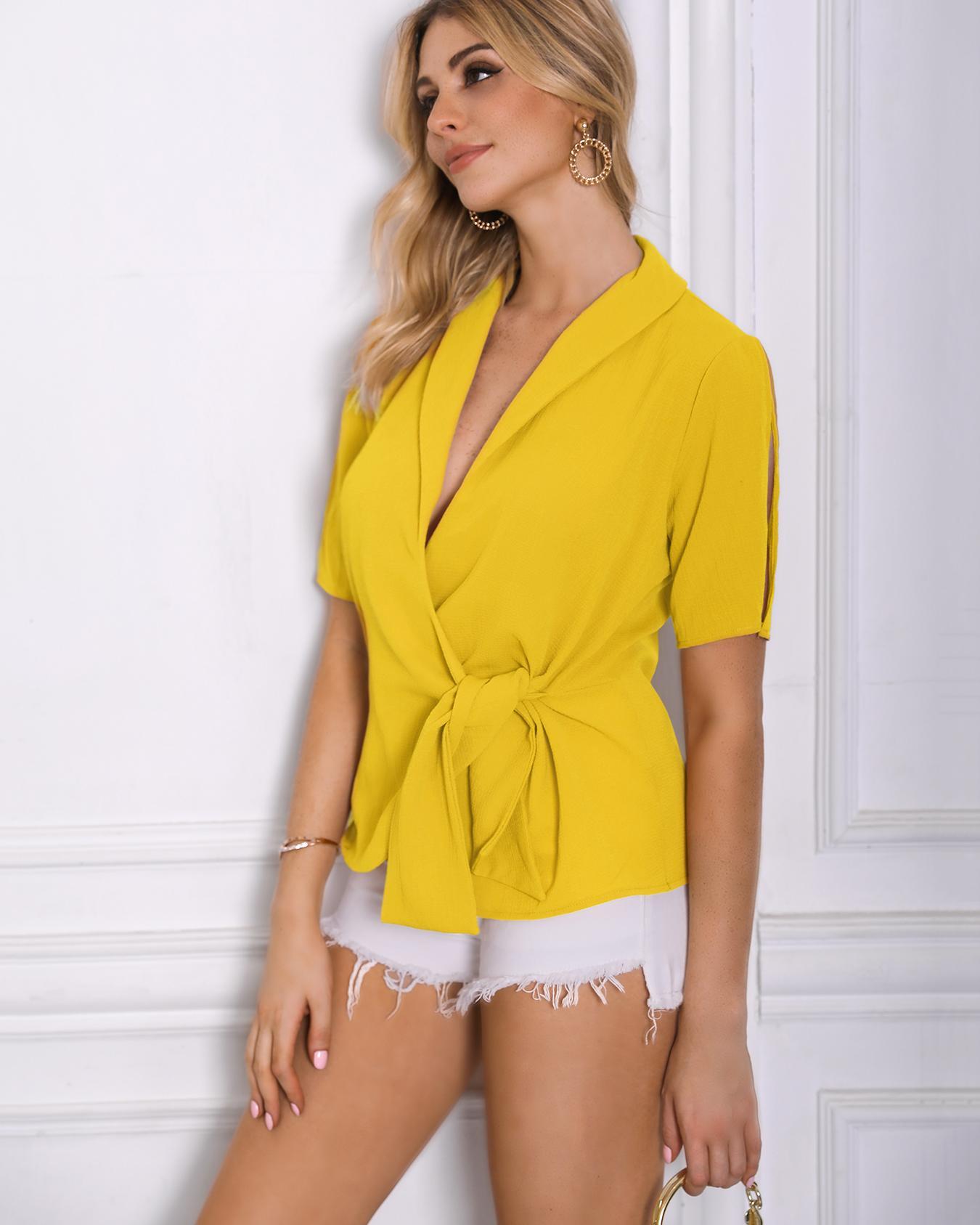 Short Sleeve Tie Side Wrap Blouse фото