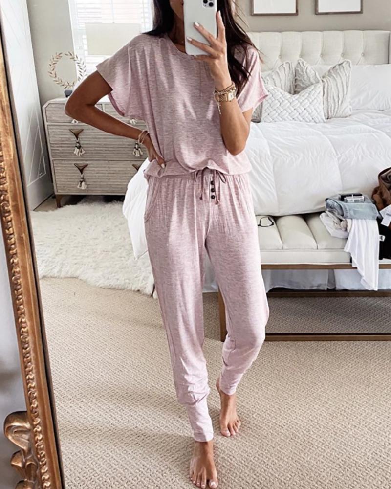 Solid Short Sleeve Drawstring Pajamas Set фото