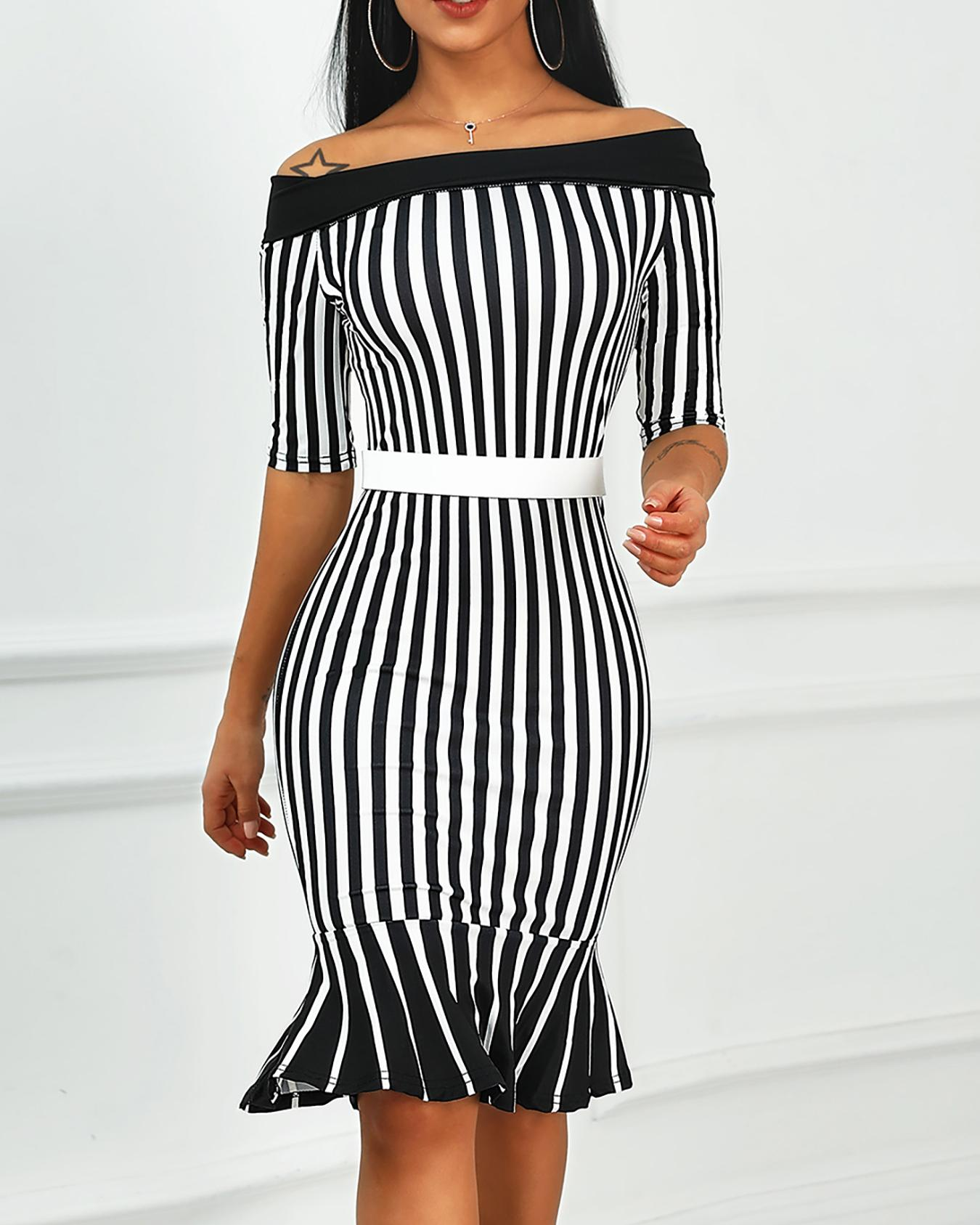 Off Shoulder Striped Fishtail Hem Dress