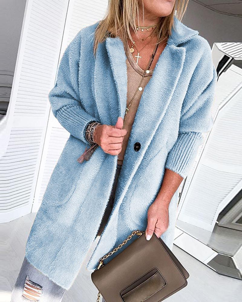 Warm Khaki Solid Fluffy Open Front Long Coat, Blue